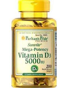 Puritan's Pride Vitamin D3 5000IU 100 lágykapszula
