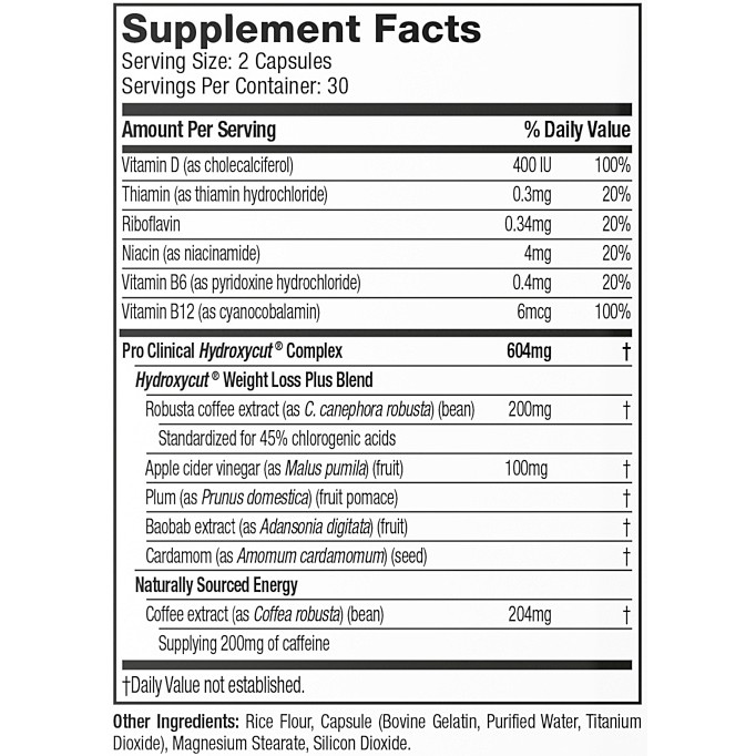 MuscleTech Hydroxycut Pro Clinical Lose Weight facts