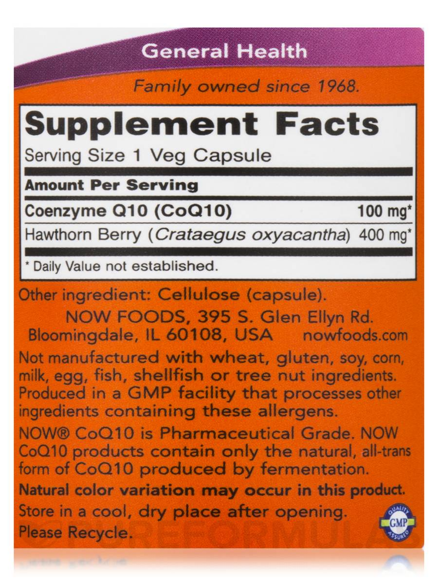 NOW CoQ10 100 mg with Hawthorn Berry facts