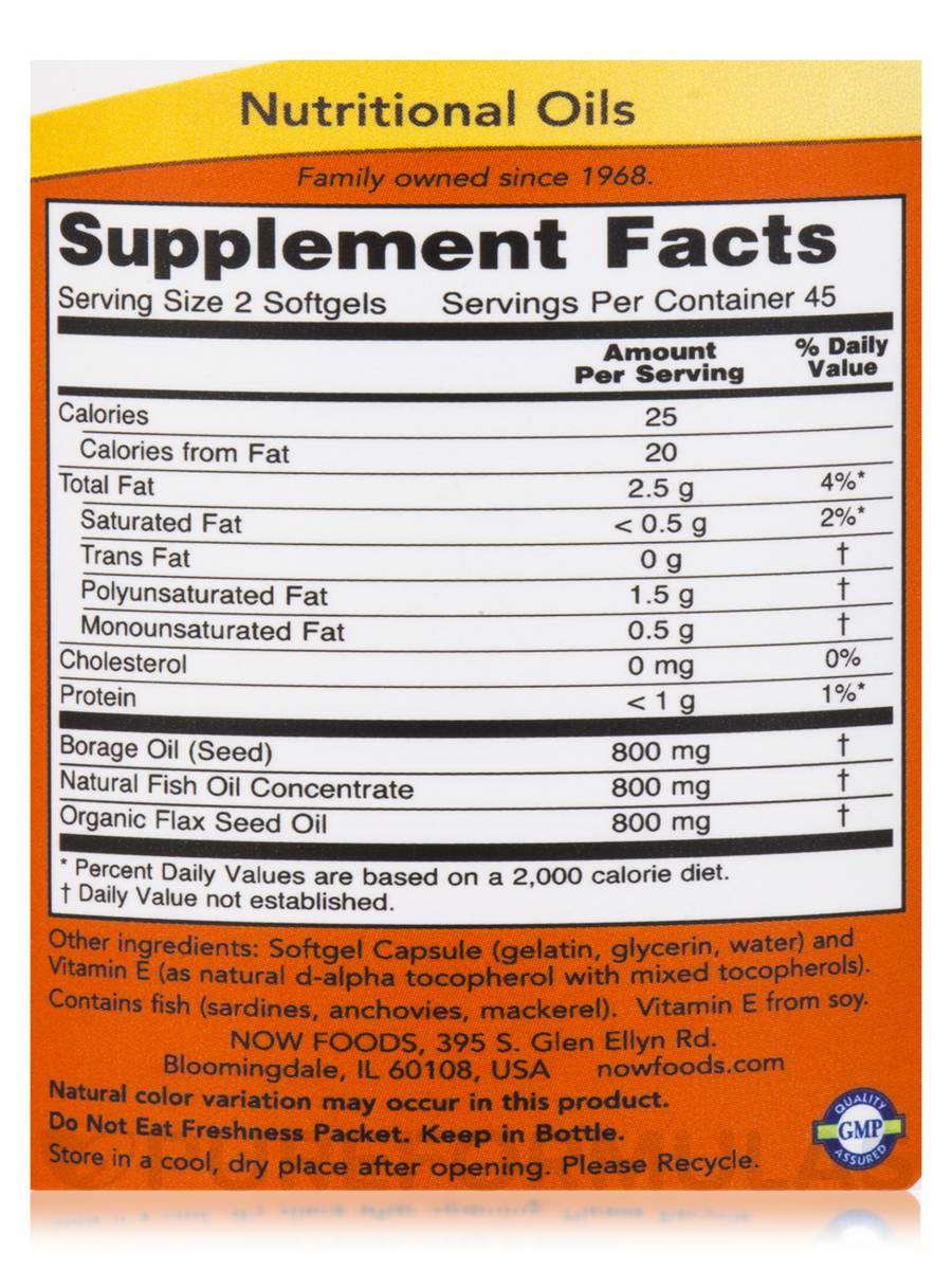 NOW Omega 3-6-9 1200mg 90 facts