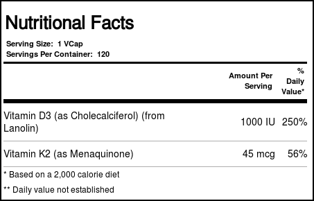 NOW Vitamin D-3 & K-2 1000 IU / 45 mcg 120 vegan kapszula