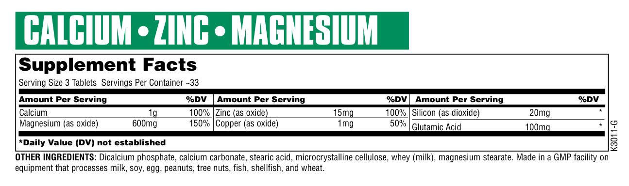 Universal Nutrition Calcium Zinc Magnesium plus Copper